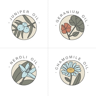 Set design templates and emblems  healthy and cosmetics oils