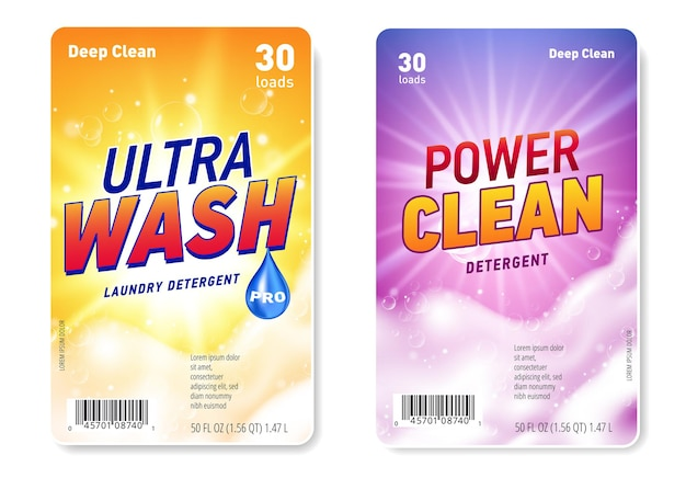 Set of design templates of label for laundry detergent with realistic soap foam and sun flare light