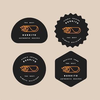 Набор шаблонов дизайна логотипов и эмблем - мексиканский буррито. логотипы в модном линейном стиле, изолированные на белом фоне.