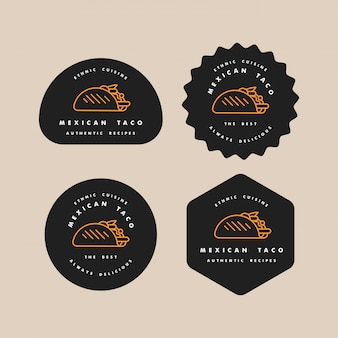 Set design templates logos and emblems - mexican taco. logos in trendy linear style isolated on white background.