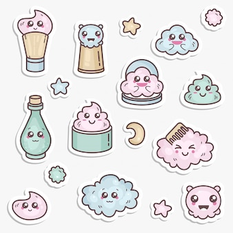 Set of design templates patches and emblems or badges, pin for beauty care. asian cosmetics - cream, powder, essence. kawaii faces.