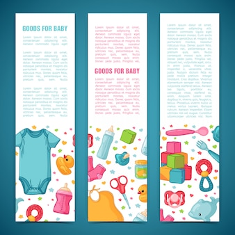 Set of design templates for vertical banners with childhood's patterns. newborn staff for decorating flyers. clothes, toys, accessories for babies. .