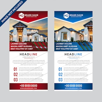Set of design templates of white background roll-up banners with a place for photos