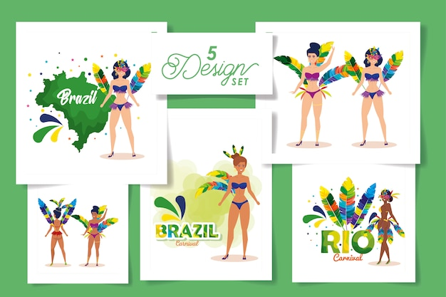 Set  designs of brazil carnival with women and icons