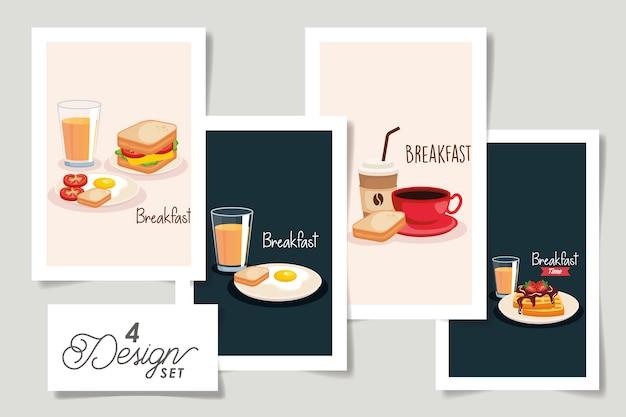 Set  designs of breakfast menu