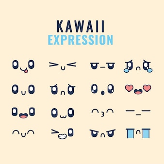 Set of designs of kawaii expressions