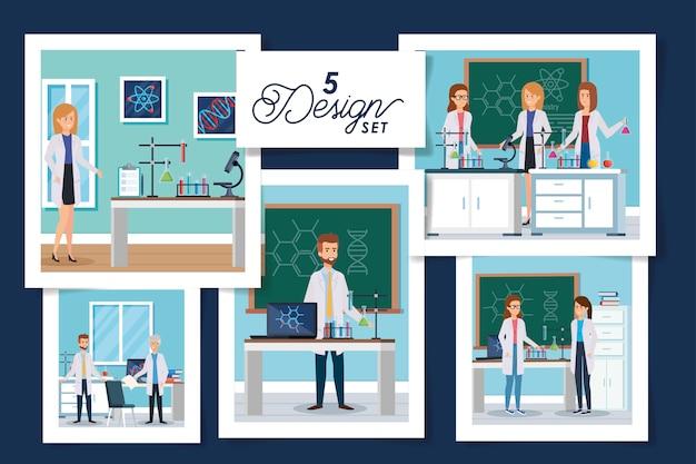 Set  designs laboratory scenes with group scientific