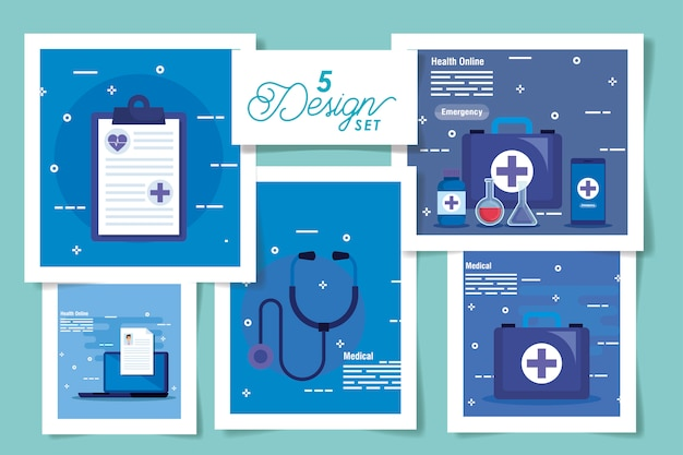 Set  designs of medicine online and icons