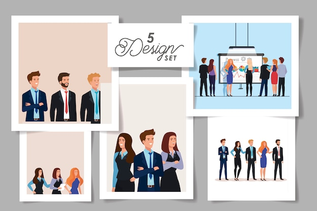 Set designs of meeting business people