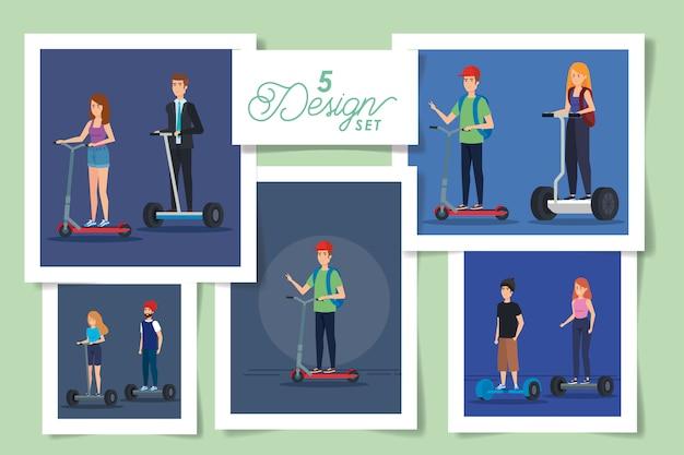 Набор конструкций людей в электрических скейтбордах