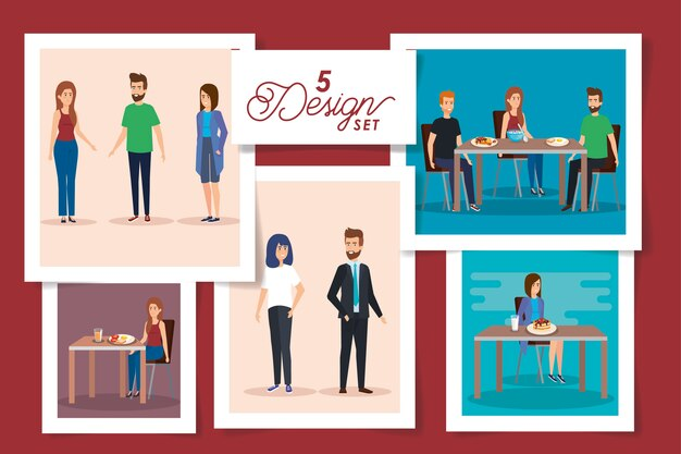 Set  designs of people in the breakfast