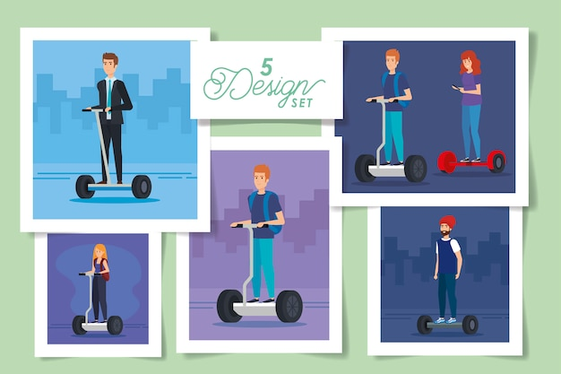 Set  designs of people in electric skateboards