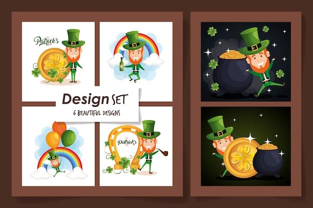 Set  designs of st patricks day with leprechaun