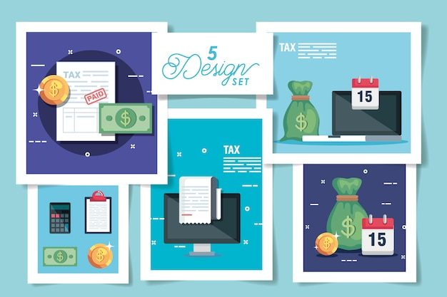 Set  designs of tax and icons