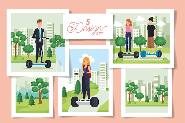 Set  designs of young people in electric skateboards