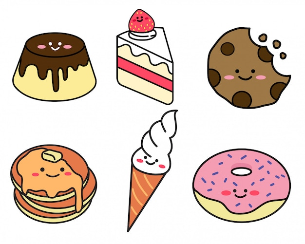 Set of dessert  in doodle style