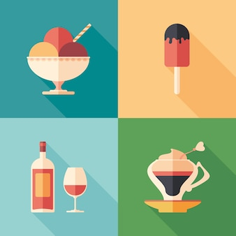 Set of desserts and drinks flat square icons with long shadows.