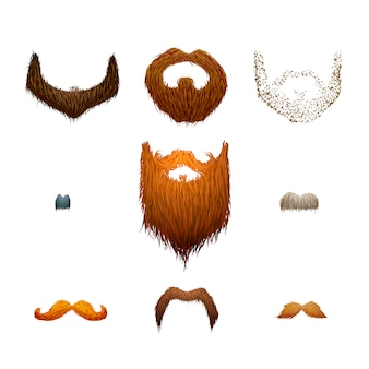 Set of detailed cartoon mustaches and beards on white