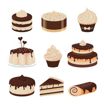 Set of detailed desserts glazed with chocolate cupcake cheesecake pudding cake