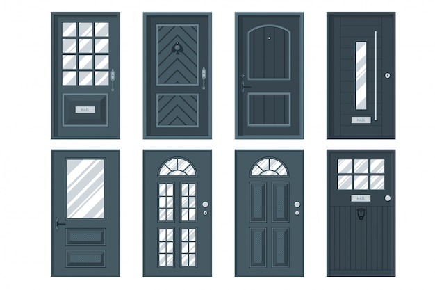 Set of detailed front doors for private house or building