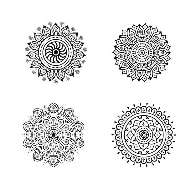 Set of detailed mandala elements