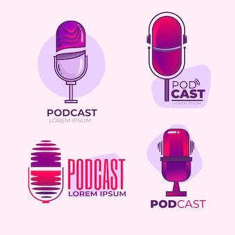 Set of detailed podcast logos