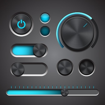 Set of the detailed ui elements with knob