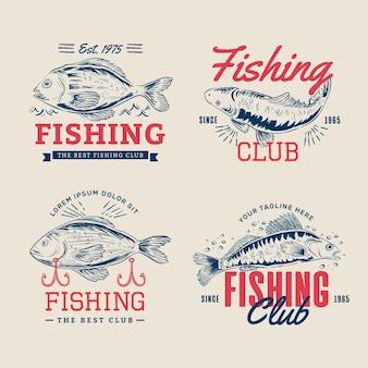Set di distintivi di pesca d'epoca dettagliati
