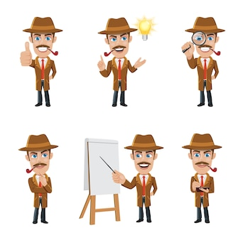Set of detective character in 6 different poses