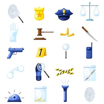흰색 배경에 플랫 스타일로 형사를 설정합니다. 경찰 요소 총, 배지, 수갑, 메모, 총알, 지문.