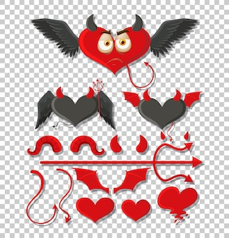 Set of devil and angel object decor