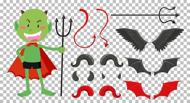 Set di decorazioni per oggetti diavolo e angelo