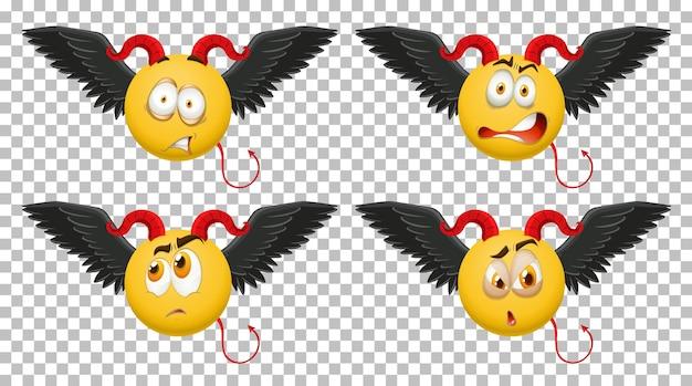 Set of devil emoticon with facial expression