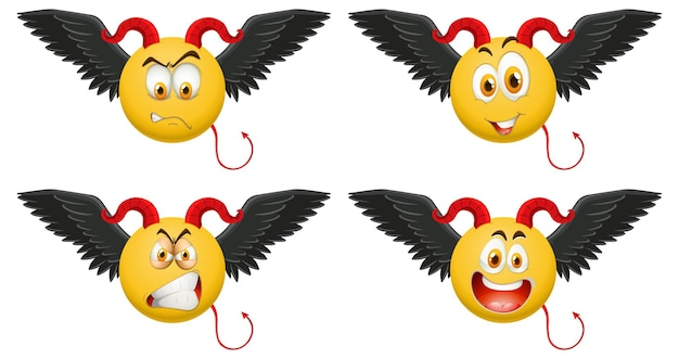 Set di emoticon del diavolo con espressione facciale