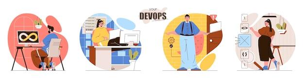 Установите devops плоский дизайн концепции иллюстрации персонажей людей