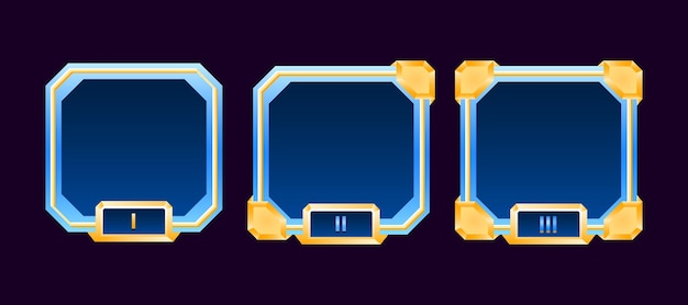 Set of diamond gold game ui border avatar frame with grade for gui asset elements