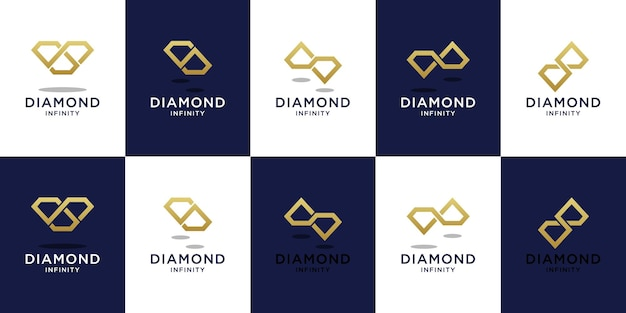 Set of diamond infinity logo template with golden color design