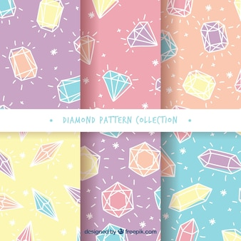 Set of diamond patterns in pastel colors