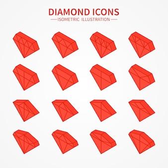 Set of diamond web icons