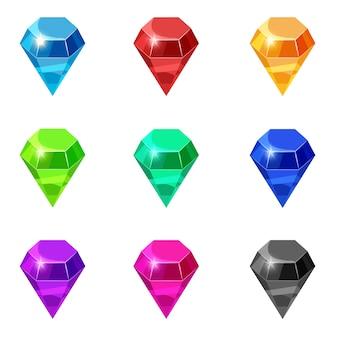 Набор бриллиантов изолированных разных цветов драгоценных камней бриллиантов