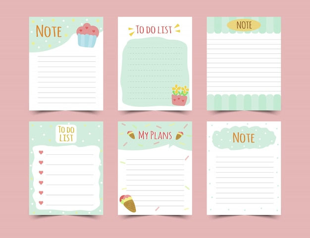 Set of diary planners and to do lists.planners, check lists. isolated.  illustration.