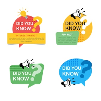 Set of did you know labels with big question mark, megaphone and bulb icon