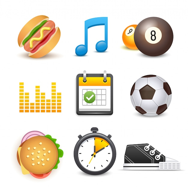Set of diet and fitness sport elements