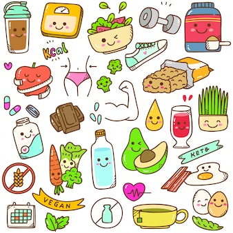 Set of diet kawaii doodle