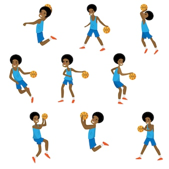 Set of different action of african basketball character boy
