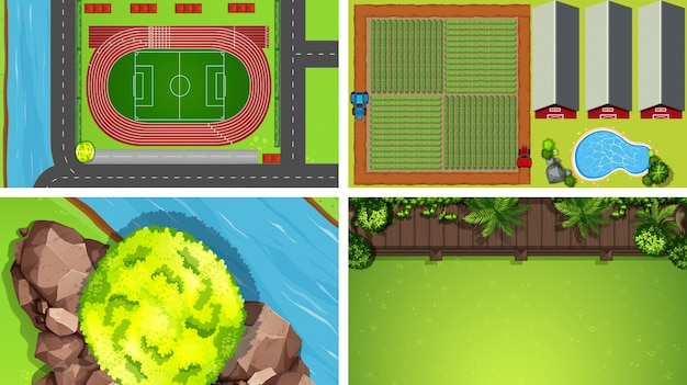 Set of different aerial view scenes background