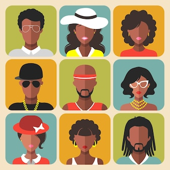 Set of different african american women and man app icons in flat style.