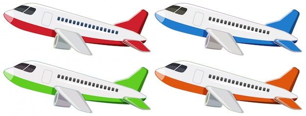 Set of different airplane