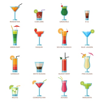 Set of different alcohol drink cocktails