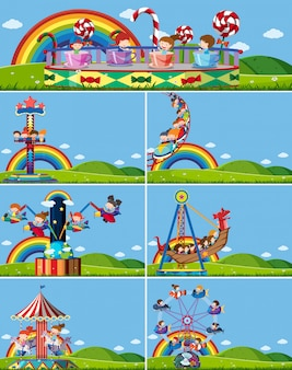 Set of different amusement rides
